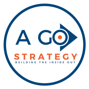 expert brand strategy digital marketing executive coach and consultant, A GO Strategy - Building the Inside Out logo surrounded by a blue circle 500 X 500 png high resolution file transparent background