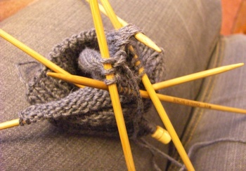 mitaine tricot doubles pointes