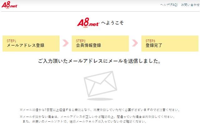 A8ネット 仮登録完了