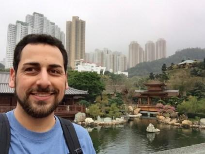 Cityscape towering over Nan Lian Garden
