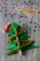 Candy Cane Christmas Tree with Merry Christmas