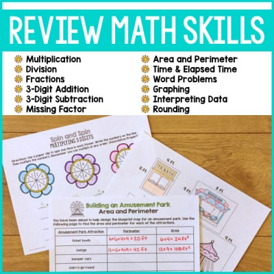 End of year math review 3rd grade