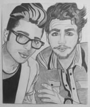 Gianluca Ginoble and Ignazio Boschetto, Il Volo, Selfie, Graphite on paper, 16 in x 20 in, AnneMarie Graham 2014