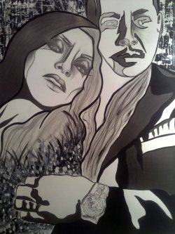 Empire - Taraji P. Henson & Terrence Howard as Cookie & Luscious Lyon from FoxTv's series 'Empire' Approx. 46 in x 50 in Mixed Media on Paper AnneMarie Graham Fall 2015