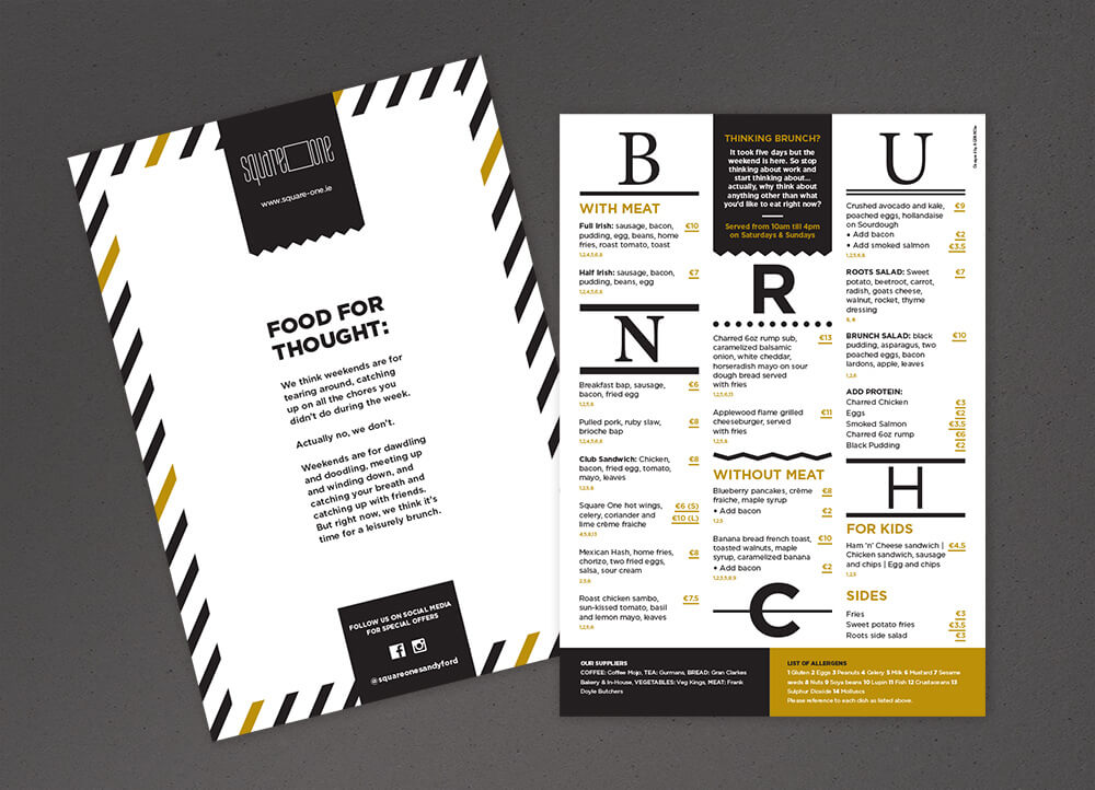 Square One brunch menu, front and back
