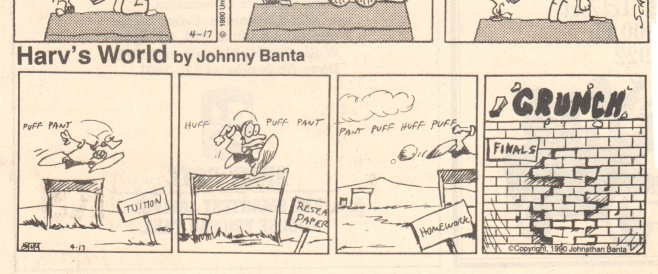 "A panel from the college newspaper, next to some ""unknown"" comic."