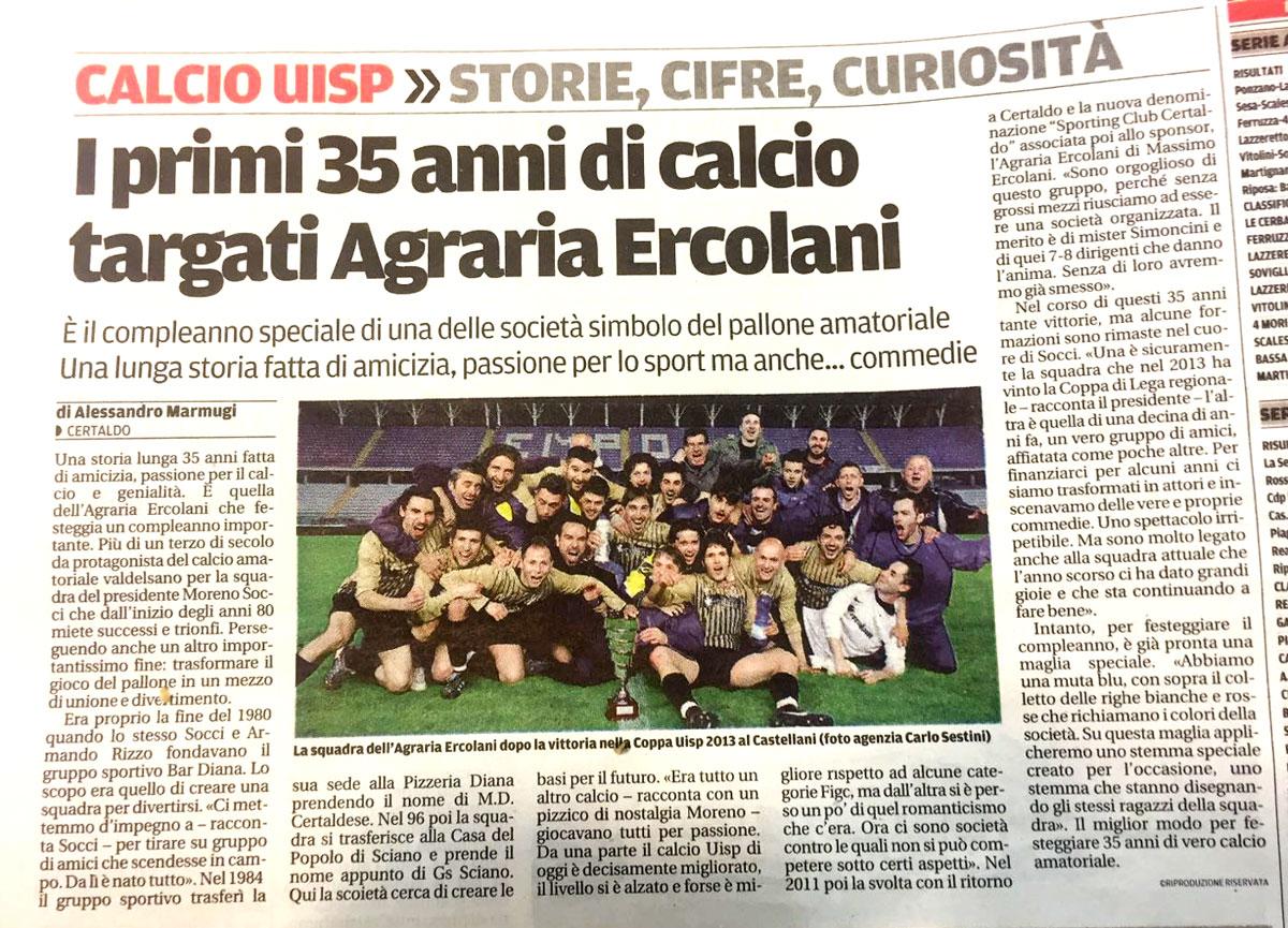 Calcio uisp - La squadra Agraria Ercolani di Certaldo compie 35 anni