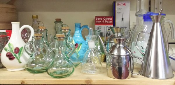 Oliere in vetro, acciaio e ceramica - Certaldo