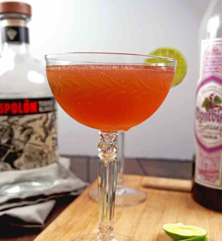 El diablo cocktail with tequila, creme de cassis, and lime