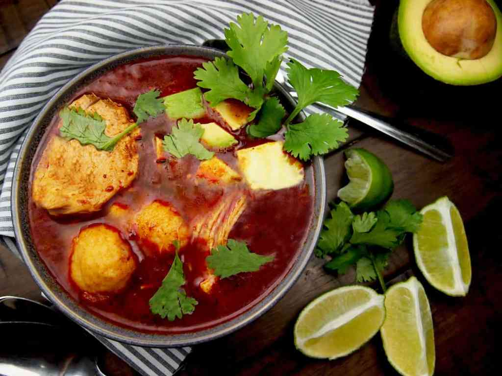 Chicken Tamale Soup with Avocado and Cilantro with limes