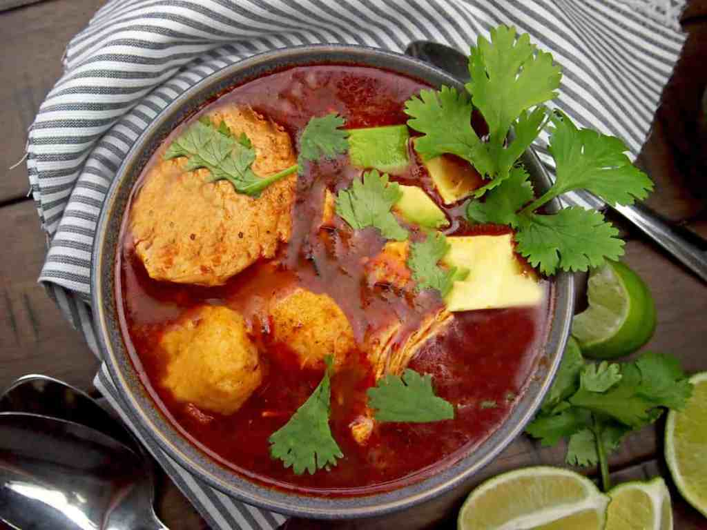 Chicken Tamale Soup with Avocado and Cilantro