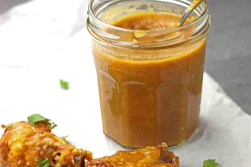Jar of finished mango BBQ sauce