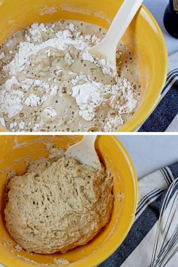 A two photo collage of the the beer bread dough. The top picture is the beer and the flour in a yellow bowl without stirring. and the second photo is of the dough mixed together for the 3 ingredient beer bread.