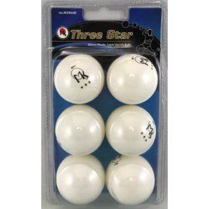 Martin Kilpatrick 3 Star Table Tennis Balls - 6 Pack - 40mm - White - Poly Ping Pong Balls