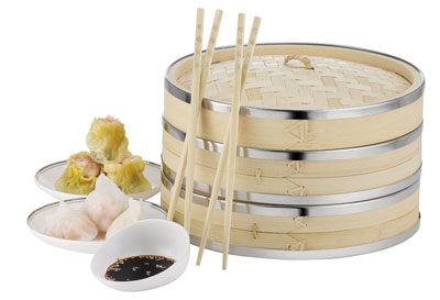 6. Von Shef 10 Inch 2 Tier Premium Bamboo Steamer with Stainless Steel Banding-includes 2 pairs of chopsticks and 50Wax Steamer Liner