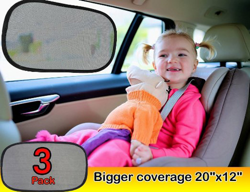 #2.Car Window Shade(3px) – Baby Care Sun Shade EXTRA LARGE 20''X12'' As 97% UV Blocker & Sun Protection For Car- Static Cling Car Sunshade With 100% Money Back Guarantee Suction cup Free Car Sun Shade