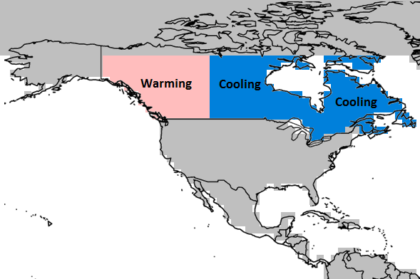 Canada Map Warming Cooling Named