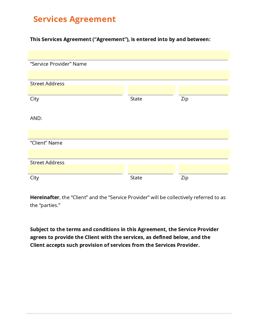 it service contract template free – Free Contractor Forms Templates
