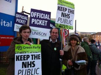 William Quick TULO, Tony Dyer Bristol South Parliamentary Candidate, and Deb Joffe Windmill hill ward candidate supporting the picket