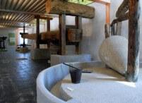 oleoturismo, Piedra de molino y bigas de madera