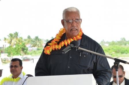 Minister of Agriculture Noel Holder addressing the gathering at the commissioning of the Lima pump station