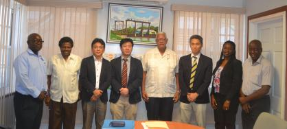 Agri. Minister flanked by JICA Consultants and other officials