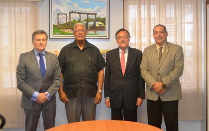 L-R Argentina's candidate for Director General of IICA, Mr. Manuel Otero, Agriculture Minister, Noel Holder, Argentine Ambassador, H.E. Luis Martino, IICA's Representative to Guyana, Wilmot Garnett.