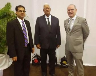 L to R - Mr. Soeresh Algoe, Minister of Agriculture, Suriname, Hon. Noel Holder, Minister of Agriculture, Guyana and Mr. Pedro MArtel, IDB Rural Development Division Chief