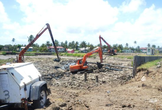 Machines at work at the Buxton Pump Station site, ECD