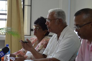 Minister of Agriculture Noel Holder, makes a point during the recent meeting held with councillors in Region Two