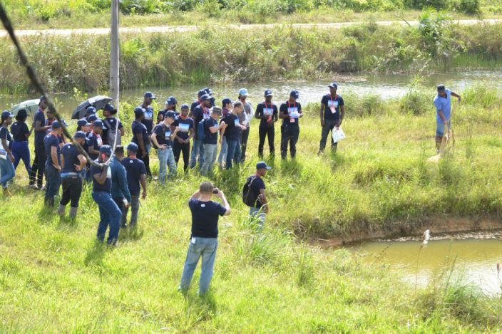 Aquaculture trainees tour Sweet Water Aqua Farm, Canal #2 West Band Demerara