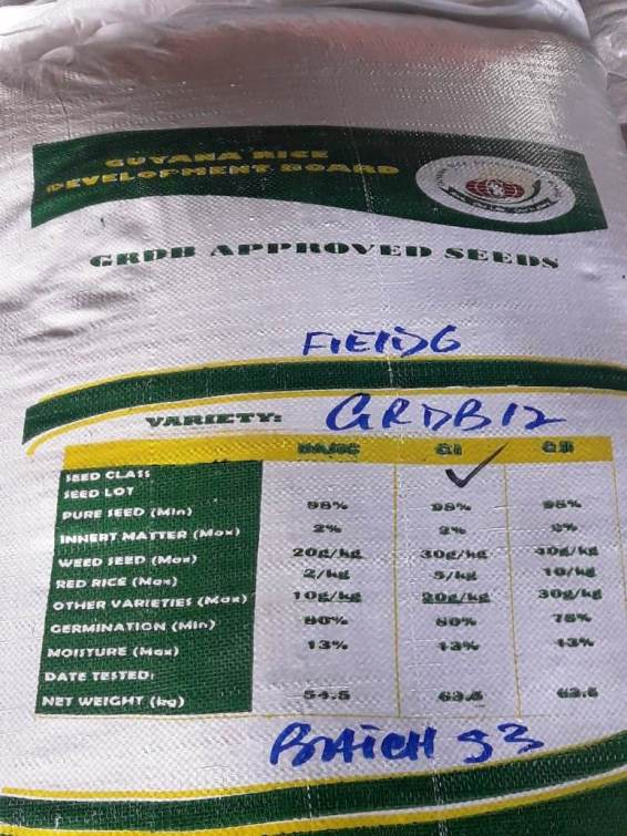 One of GRDB's labelled bags of seed paddy