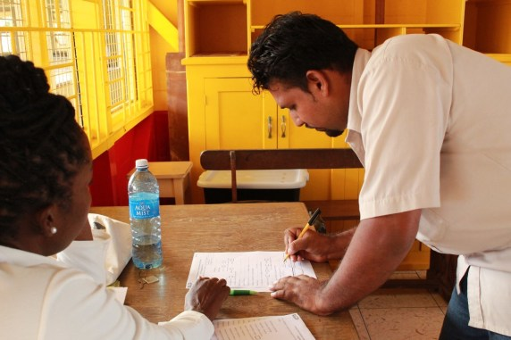 A technician while signing up for the program