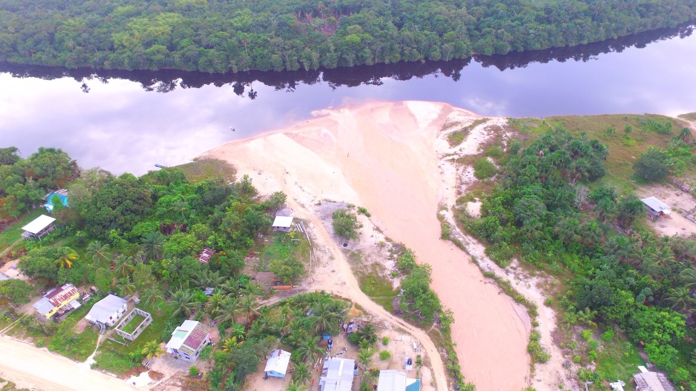 Image Showing Approximately two thirds of the Demerara River Blocked by Sand from Eroded Areas