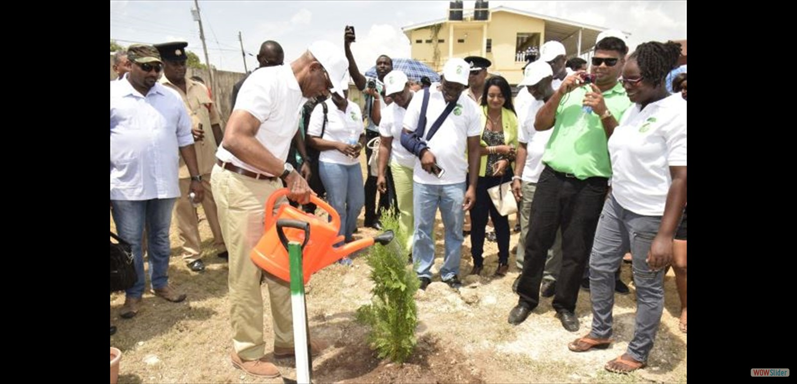 President Granger waters the first tree, which he planted, as part of the National Tree Planting Day exercise, at Bartica.