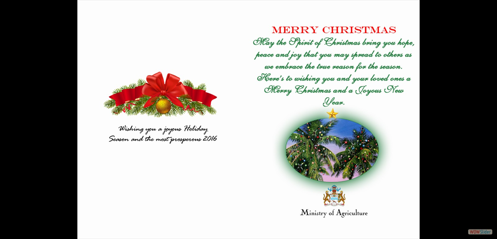 SEASONS GREETINGS from the Ministry of Agriculture