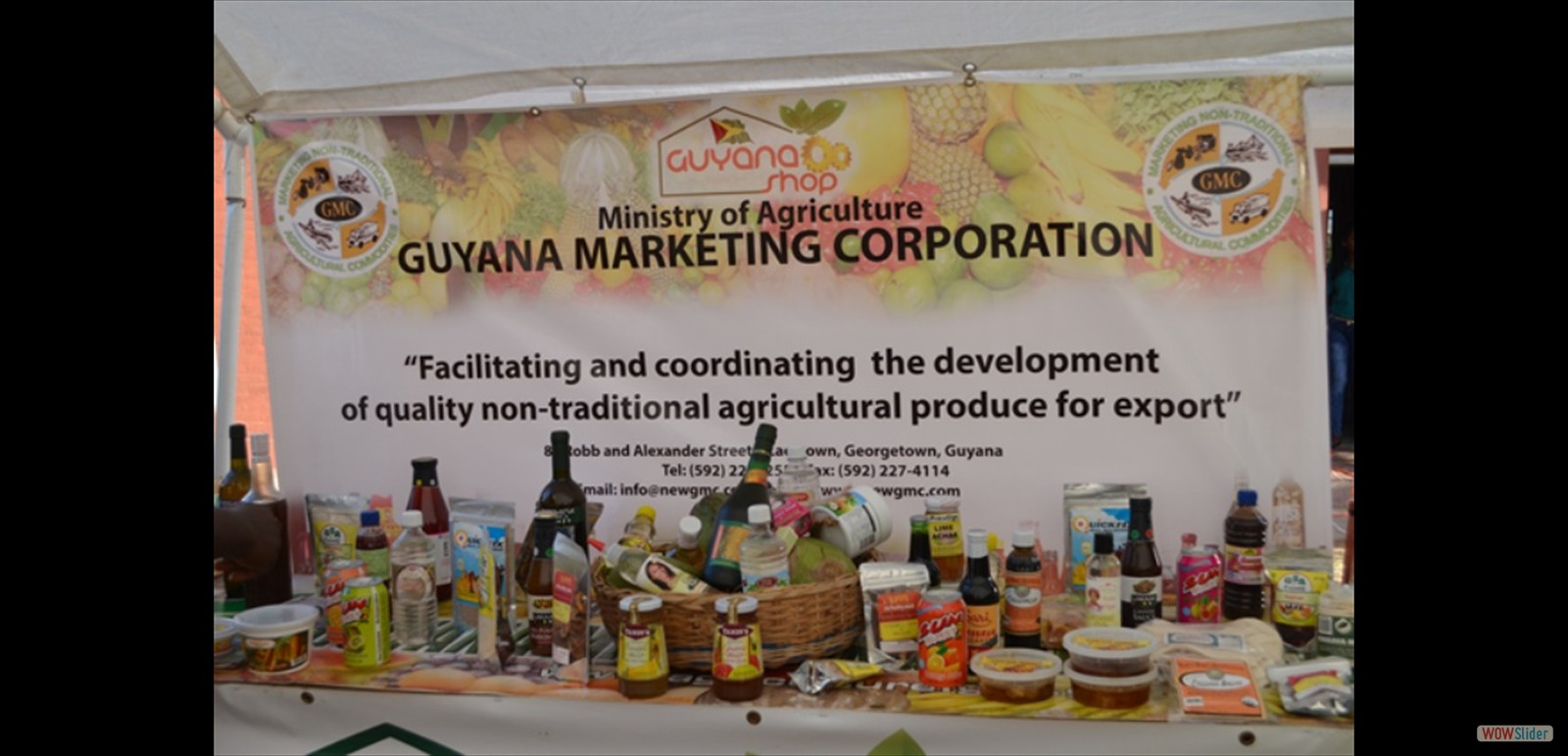 Some of the local products on display at the Guyana Marketing Corporation's booth during the MMA open day exhibition