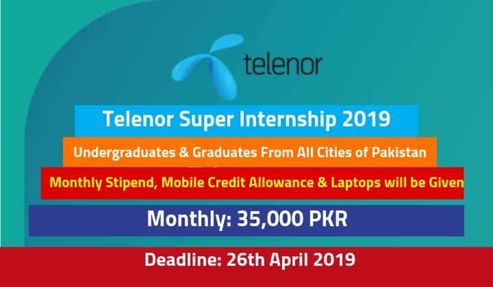 Telenor Super Internship 2019 in All Cities of Pakistan – Paid Internship
