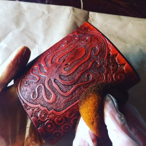Hand Staining of Leather Flasks
