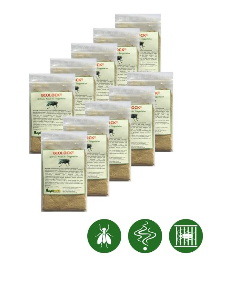 Biolock® Fliegenköder - 10 Köder á 40g /Packung für Fliegenfalle maxi