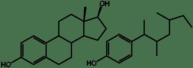 El estradiol es un disruptor endocrino que semeja la esteroidea, una hormona femenina. Tiene efectos estrogénicos. El nonilfenol es una sustancia encontrada en varios detergentes y su uso ha sido prohibido debido a los efectos adversos sobre el medio ambiente.