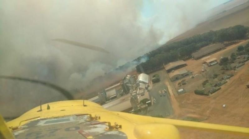 Brigada aérea ajuda a combater fogo em áreas isoladas e de difícil acesso, jogando água diretamente no incêndio.