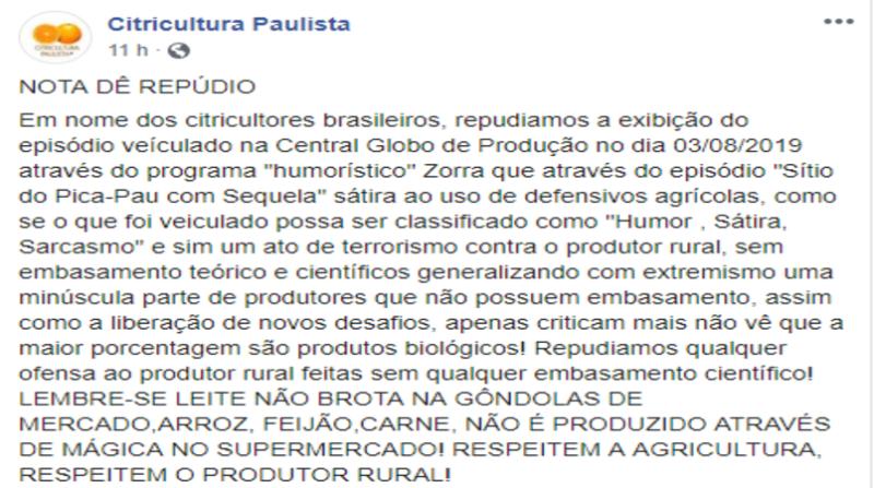 nota citricultura paulista