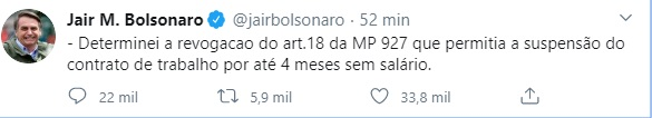 jair bolsonaro revogacao mp print screen