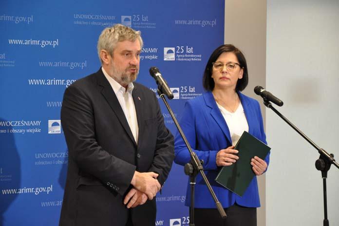 Maria Fajger, prezes ARiMR, Jan Krzysztof Ardanowski, minister rolnictwa. Płatności bezpośrednie, PROW, dopłaty
