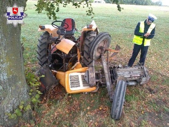 wypadek z udziałem rolnika, rolnik, wypadki na wsi, wypadek z ciągnikiem, wypadki na wsi, policja