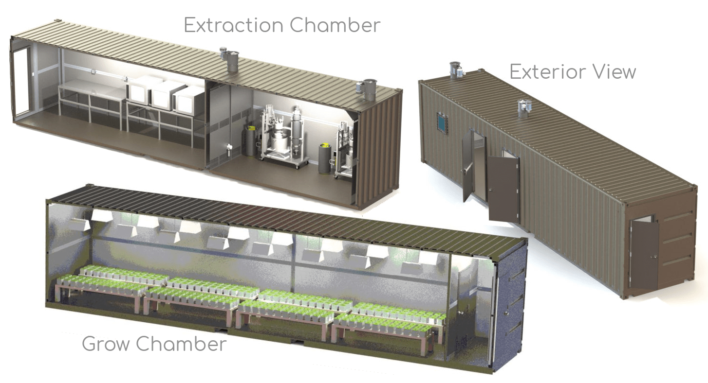 Marijuana grow rooms and extraction labs fabricated from shipping containers