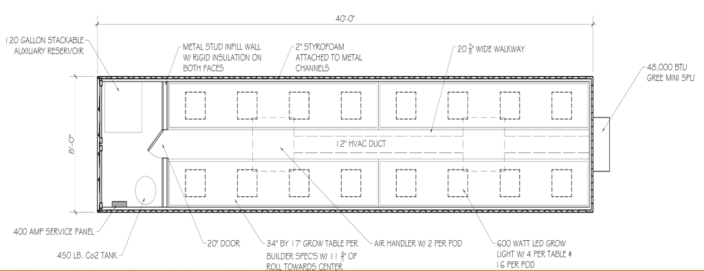 Architectural drawing of grow pod