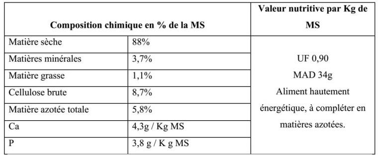Tableau 11: Composition chimique de la caroube (MINSTERE DE L'AGRICULTURE)