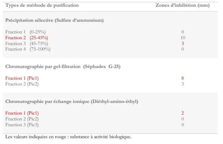 Tableau 4 : Activité antimicrobienne des différentes fractions purifiées de l'extrait aqueux deTerfezia claveryi contre Pseudomonas aeruginosa (Janakat et al., 2005).